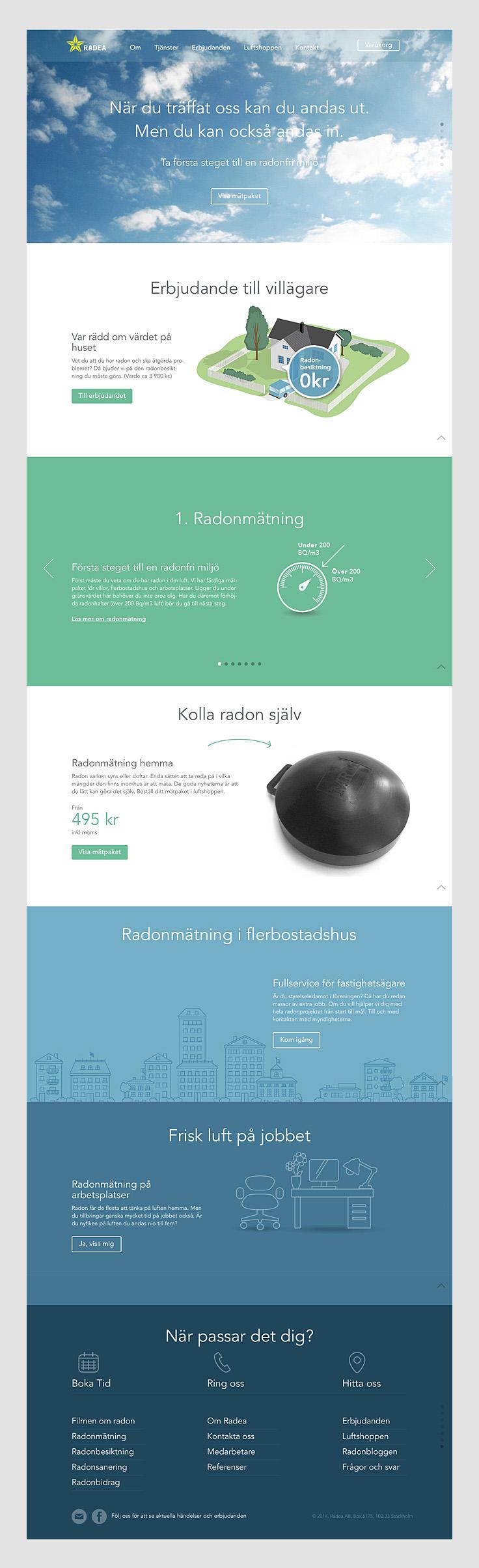 Radea, webbsajt, startsida