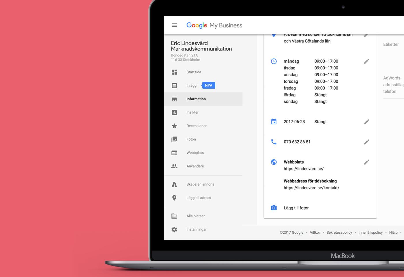 Google My Business, webbadress för tidsbokning