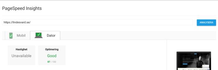 PageSpeed, förbättring med 52 procent.